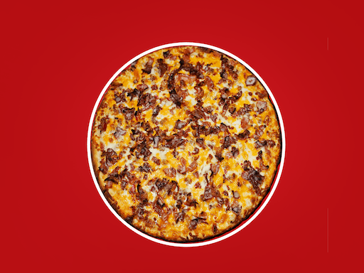 Our signature tomato sauce sweetened with Heinz Ketchup®, ground beef, onions, loaded with cheese & topped with cheddar & bacon