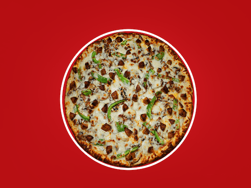 Salami, fresh mushrooms, green peppers, loaded with cheese, & topped with chunks of italian sausage
