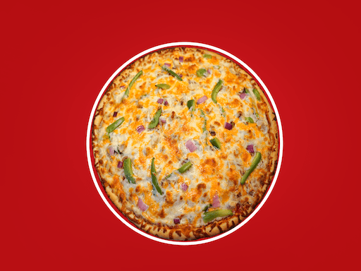 Bull's Eye® BBQ sauce, roasted chicken breast, green peppers, & red onions topped with cheddar