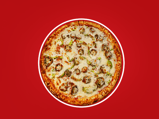 Spicy pepperoni, green peppers, onions, & jalapenos
