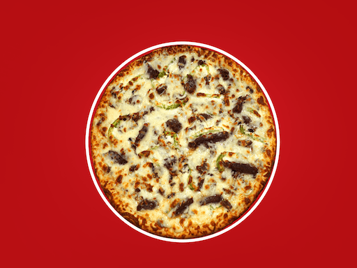 A bed of creamy ranch and Bull's Eye® BBQ sauce, sirloin steak, fresh mushrooms, onions & green peppers (no tomato sauce)