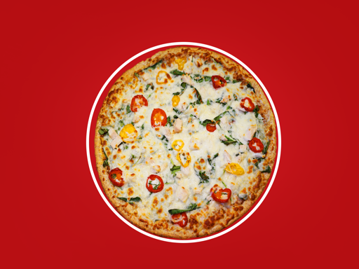Our classic whole wheat thin crust, with tomato basil pesto, fresh spinach, onions, roasted chicken breast, banana peppers, & feta cheese