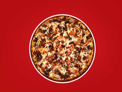 A bed of creamy ranch and Bull's Eye® BBQ sauce, covered in fresh mushrooms, roasted chicken breast, fresh tomatoes, loaded with cheese & topped with bacon (no tomato sauce)