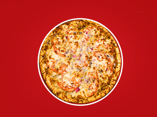 Our gourmet thin crust with tomato basil pesto, red onions, roasted chicken breast, & fresh tomatoes